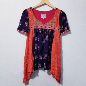 Floreat Floral Short Sleeve Top Size 2 Ora…